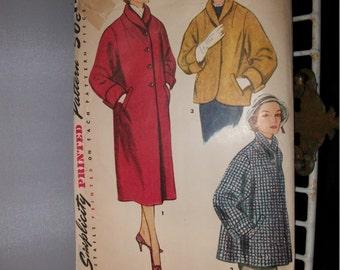Vintage 1950s 1960s 3 length coat Simplicity Pattern