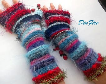 Women L 20% OFF Ready To Ship Bohemian Fingerless Boho Mittens Cabled Striped Gloves Hand Knitted Accessories Wrist Warmers Winter Arm 1078