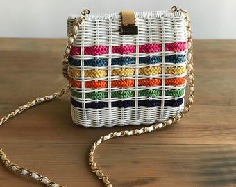 White Woven Rattan Purse with Chain Strap / Colorful Striped Rattan Handbag