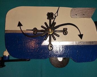 Blue/Ivory Vintage Shasta Trailer Analog Clock with Curvy Second Hand and Wing!