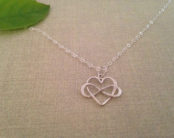 Infinity Heart Necklace, intertwined Heart, Bridal Gift, friendship necklace, sisters jewelry, best friends, Infinity Heart,bridesmaids Gift