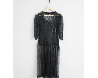 chantilly lace dress / 1930s dress / black lace dress
