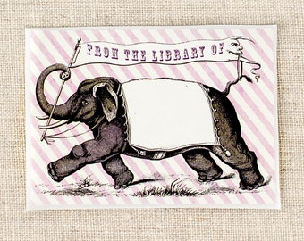 circus elephant bookplates - kids book plates - bookplate stickers - book plates - gifts for book lovers - gifts for teacher - ex libris