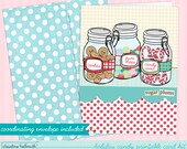 christmas card printable kit -  sugar plums holiday candy jars greeting card printable INSTANT download PDF