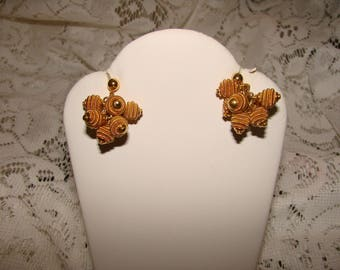 Gold Plated Cluster Wired Bead Earrings With Post Backings