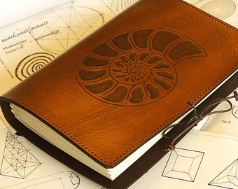 A5, Medium, Leather Bound Journal, Ammonite, Sea Shell Diary, Logarithmic Spiral Journal, Brown Leather, Leather Notebook, Personalized.