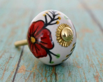 Ceramic Cabinet Knob with a Red Floral Design