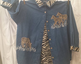 EVERYTHING MUST GO! Size 1X, Jean Jacket Shirt, Zebra, Long Sleeve with Zebra accents on the collar and cuffs