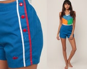 Lacoste Shorts High Waisted Retro Shorts 70s Tennis Blue Preppy Jogging Shorts Striped Sailor Vintage 1970s Hipster Extra Small xxs 00