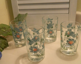Set of 4 Vintage Mid Century Taylor Smith Taylor Boutonniere Ever Yours 4 oz. Juice Glasses