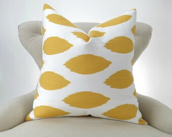 Yellow Ikat Pillow Cover -MANY SIZES- Chipper corn white custom euro sham throw cushion geometric bold modern decorative 18x18 24x24 28x28