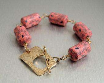 Polymer Clay and Brass Bracelet - Etched Brass Toggle Bracelet - Red & Blue Polymer Bracelet