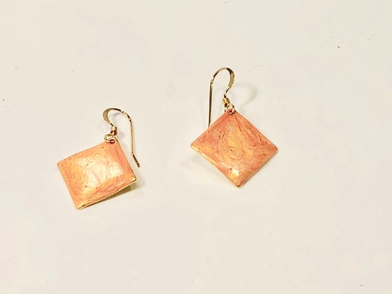 SJC10198 - Handmade small diamond shape orange enamel gold plated earrings with abstract designs