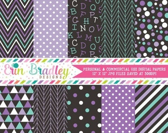 80% OFF SALE Purple and Blue Digital Scrapbook Papers Alphabet Pattern Chevron Stripes Polka Dots Triangles & Herringbone Commercial Use