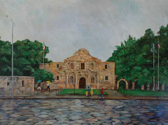 The Alamo in the Rain | Texas Alamo Painting | Painting and Art Prints