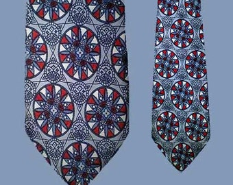 Vintage 50s Wide Tie Stained Glass Mandala Pattern