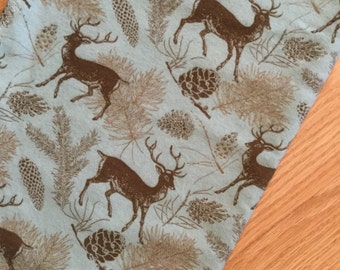 Green/Brown deer flannel blanket