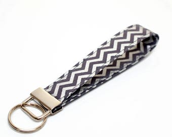 Metallic Silver and Gray Chevron Fabric Key Chain / Key Fob / Wristlet - Choose Your Fabric and lenght