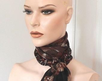 Vintage brown/red scarf,brown/red scarf,brown scarf,red scarf,vintage scarf,head scarf, neck scarf,women,teen,costume,parties, movie props