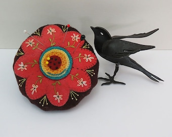 "A Wool Applique Pattern and KIT; Flower Pincushion with hanHand Embroidery, 7"" in diameter, All Hand Dyed Wool Included"