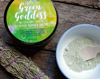 Face Scrub, Matcha, Mint, All Natural, Skincare, Peppermint, Cleansing Greens, Grain Scrub, Small Batch, Clay Cleanser, Herbal Skincare