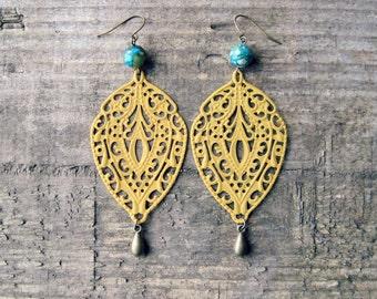Yellow Filigree Earrings // Mustard Yellow Earrings, Teardrop Earrings, Rustic Earrings, Statement Earrings, Boho Jewelry