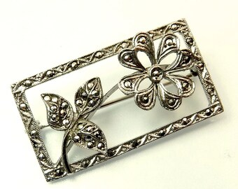 Art Deco Brooch Sterling Silver Marcasite Flower Brooch
