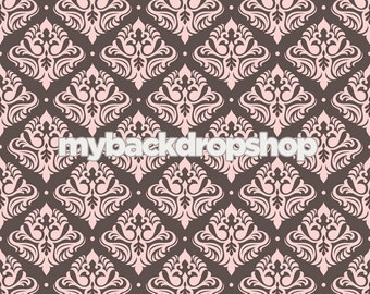 7ft x 7ft Brown and Pink Photography Prop -  Damask Wallpaper Backdrop for Studio Photos - Item 1059