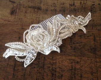 Crystal and ivory lace headpiece