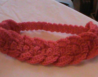 Crocheted peach headband