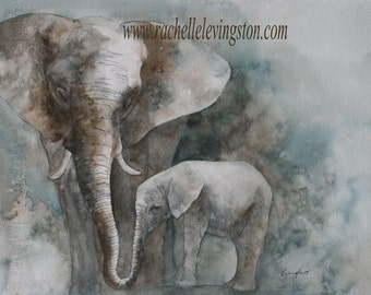 baby boy Nursery art PRINT boy nursery decor nursery print baby room decor Kids art watercolor painting of elephant baby wall decor 11x14
