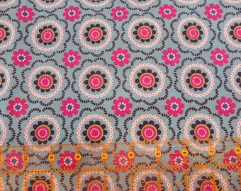 Destash- Turquoise And Pink Cotton Fabric Remnant For Quilting Or Crafting