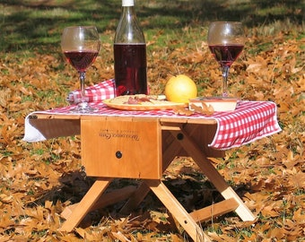 Picnic basket wine carrier and table