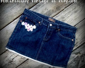 Skirt, Blue, Jeans, Upcycled, Accessories, Embellished, Shabby Chic