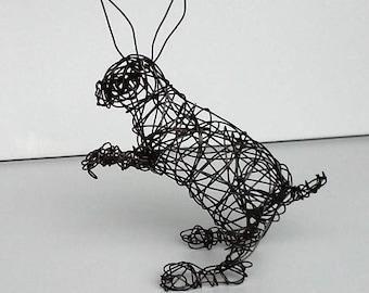Unique Wire Sculpture - Rabbit Sculpture -  BIG EARS