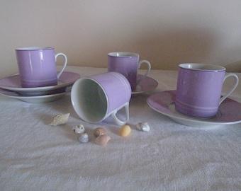 Coffee cups purple/lavender white porcelain vintage tea