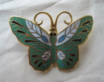 Butterfly Green White Brooch Gold Enamel Vintage Pin Cloisonné Pendant