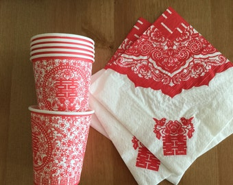 Chinese Wedding Paper cups and Napkins, Double Happiness, Chinese Wedding Tea Ceremony