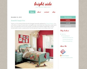 Blogger Template Premade Blog Theme Design - Bright Side Blogger Theme