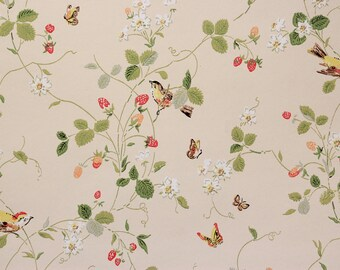 1970s Vintage Wallpaper Strawberry Vine Butterflies Birds on Cream Background
