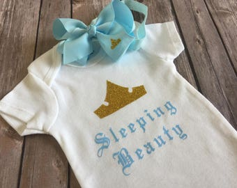"Baby Girl ""Sleeping Beauty"" Outfit - Onesie and Hair Bow"