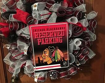 Chicago Blackhawks mesh wreath