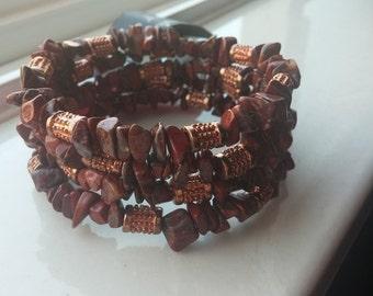 Red Jasper Bead Chip Wrap Bracelet