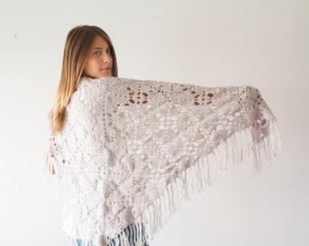 Sales Triangle shoulder wrap grey wrap shawl long wrap scarf crochet long chunky scarf in grey shoulder warmer
