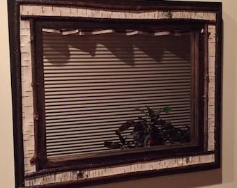 "Handcrafted Adirondack White Birch Bark Framed Mirror Camp Decor 16"" x 14"""