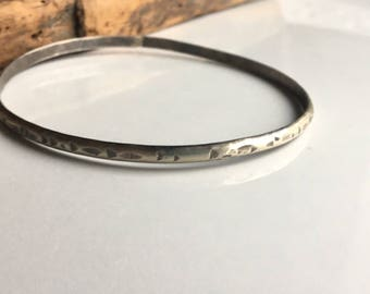 REDUCED Hammered Argentium Silver Bangle, Silver Bracelet, Silver Bangle, Handmade Bangle Simple Bangle, Etsy, Etsy Jewelry