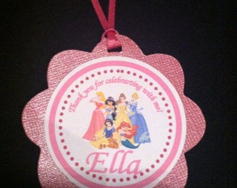 12 Disney Princess favor tags / Cupcake Toppers - Custom Personalized to fit your need