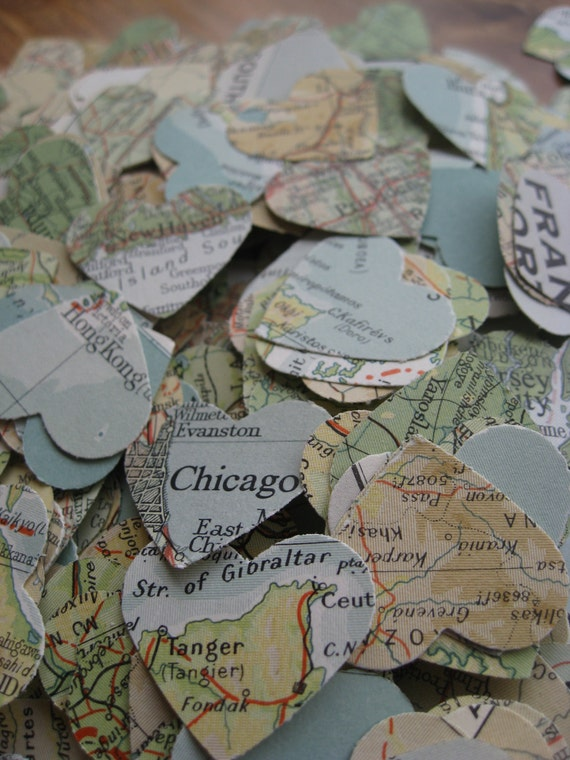 1000 Vintage Map Confetti. Teal, Ivory, Ochre, Beige, Green. World Map. Or CHOOSE YOUR MAP. Heart Shaped. Custom Orders Welcome.