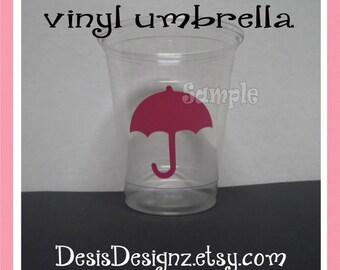 24 Girl Baby shower assorted vinyl decal 12 oz. 16 oz or 20 oz. clear party cup Shower decoration Girl sprinkle party Umbrella vynil