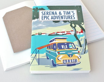 Travel Journal-Personalised Notebook-Campervan-Gift For Student-Travel Journal With Pockets-Recycled Paper Notebook-Honeymoon Gift